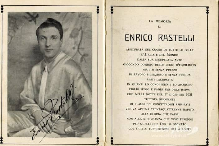 Cartolina in memoria di Enrico Rastelli (1931)